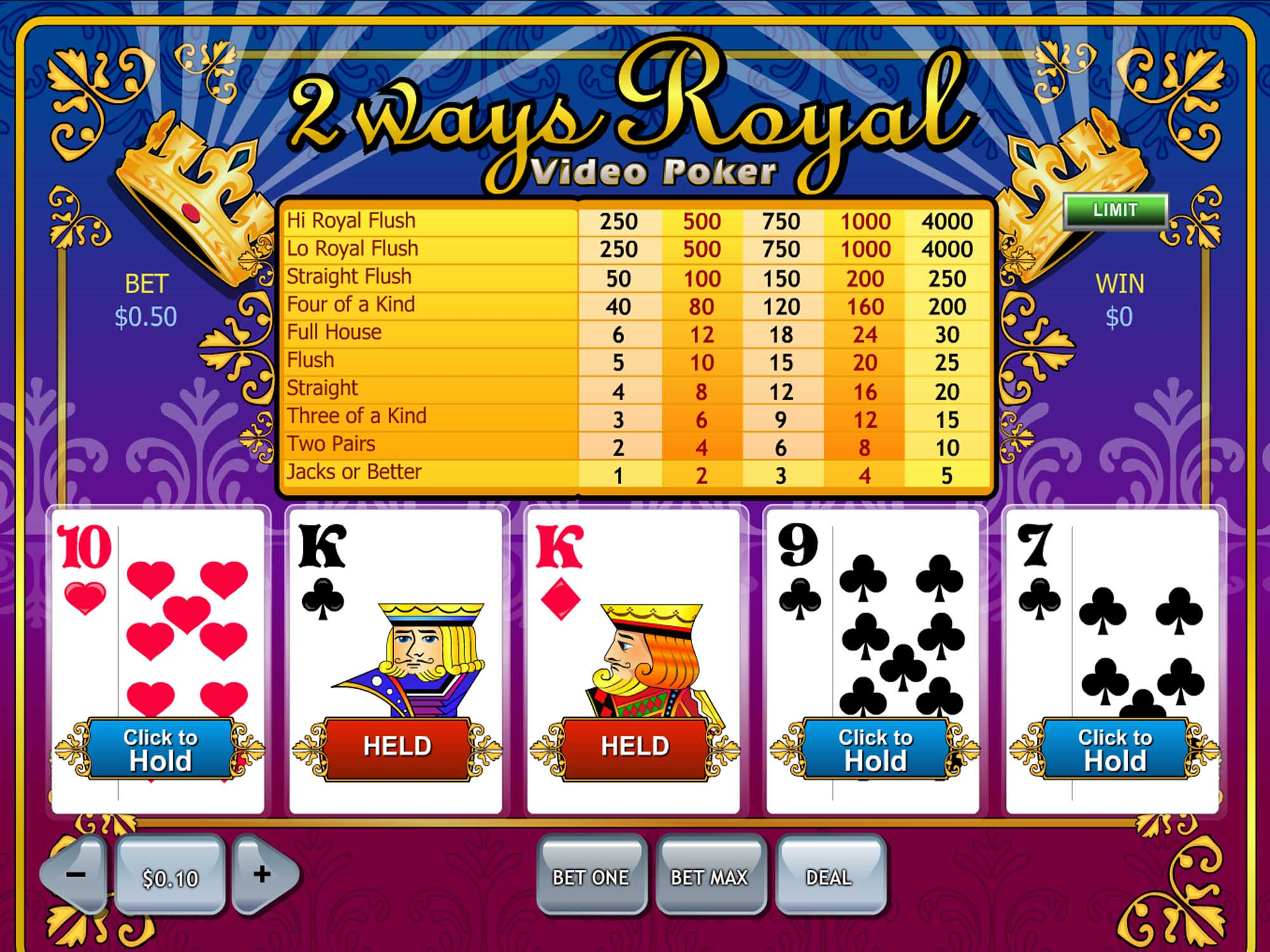 Playtech 2 Ways Royal Video Poker screenshot