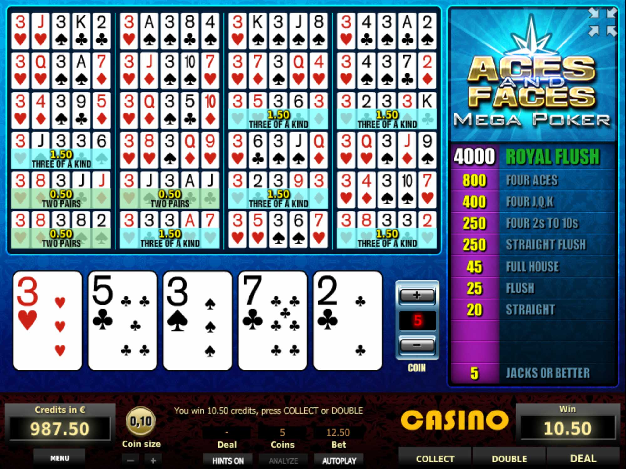 Tom Horn Aces And Faces Mega Poker Video Poker screenshot