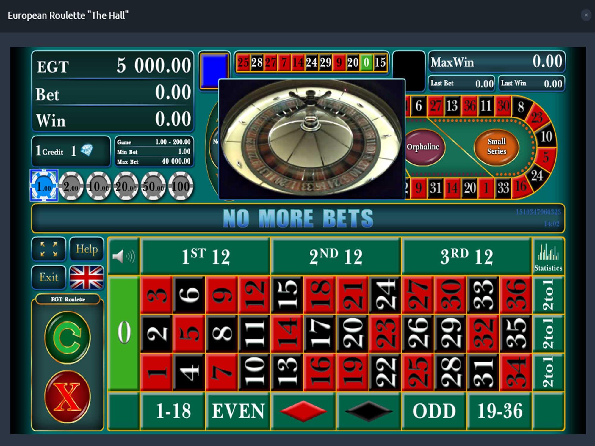 EGT European Roulette screenshot