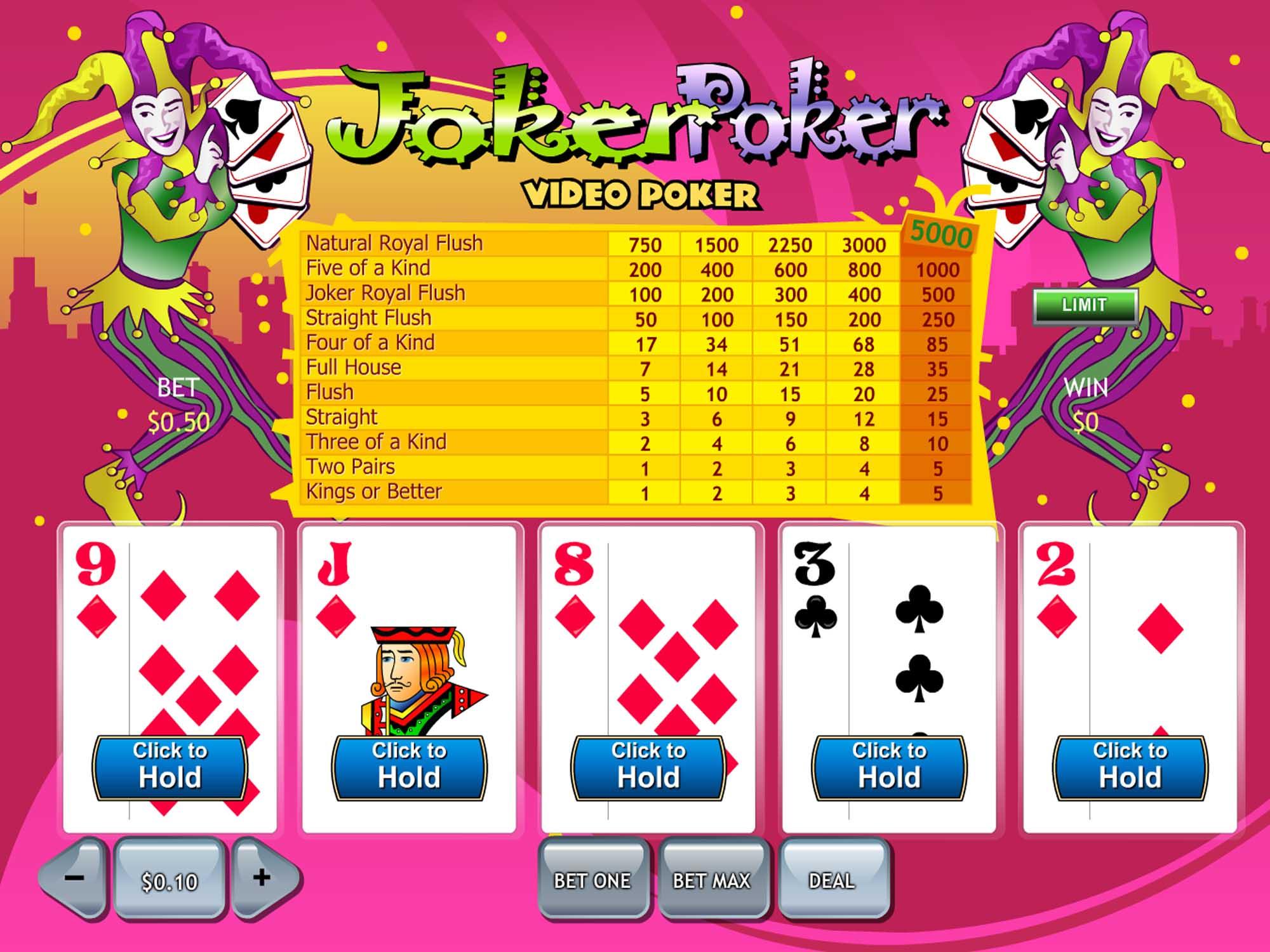 Playtech Joker Poker Video Screenshot
