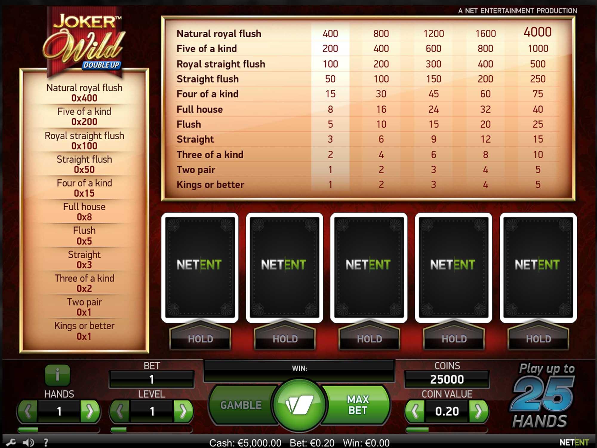 NetEnt Joker Wild Double Up Video Poker screenshot