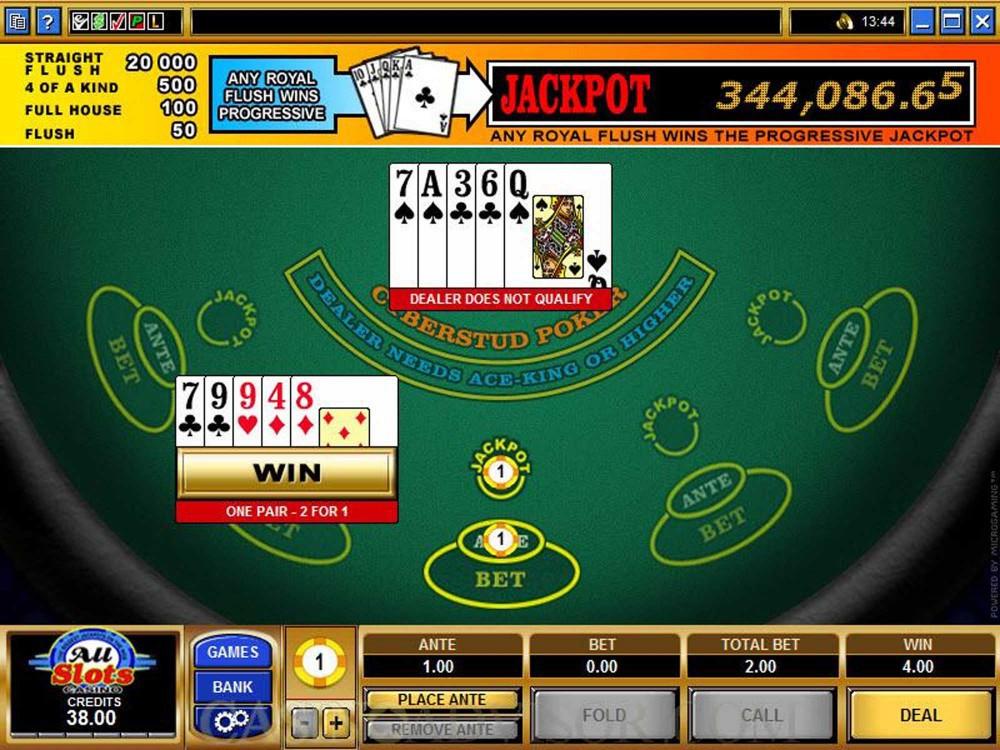 Cyberstud Poker Progressive Jackpot screenshot