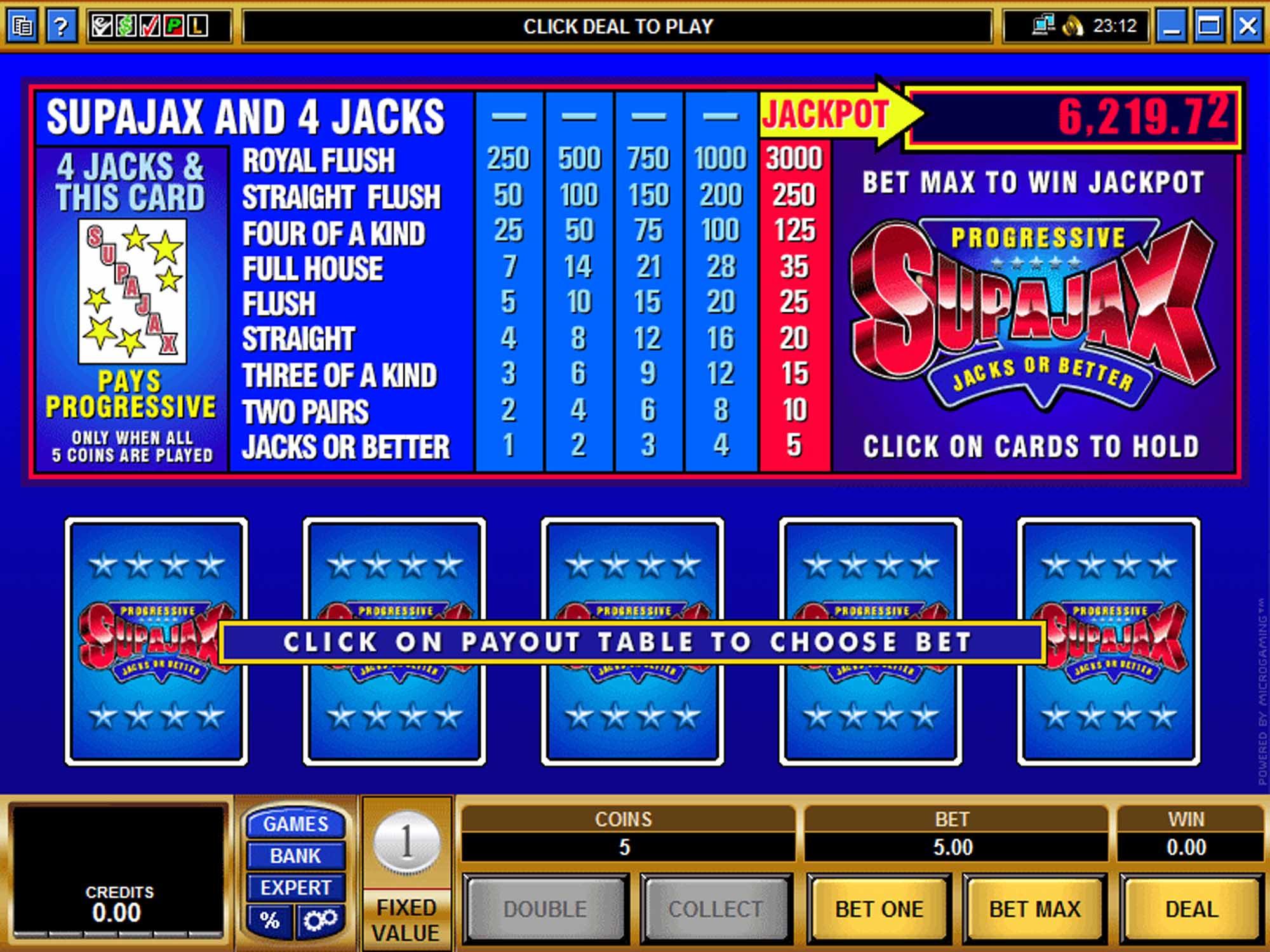 Microgaming SupaJax Video Poker screenshot