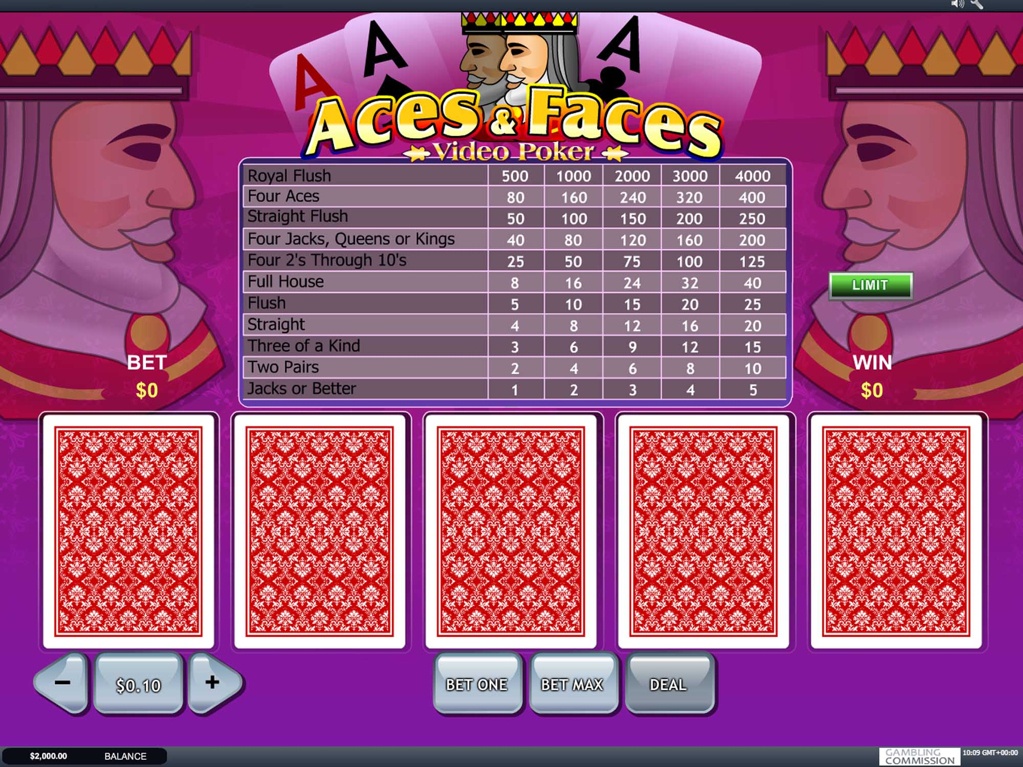 Playtech Aces And Faces Video Poker screenshot