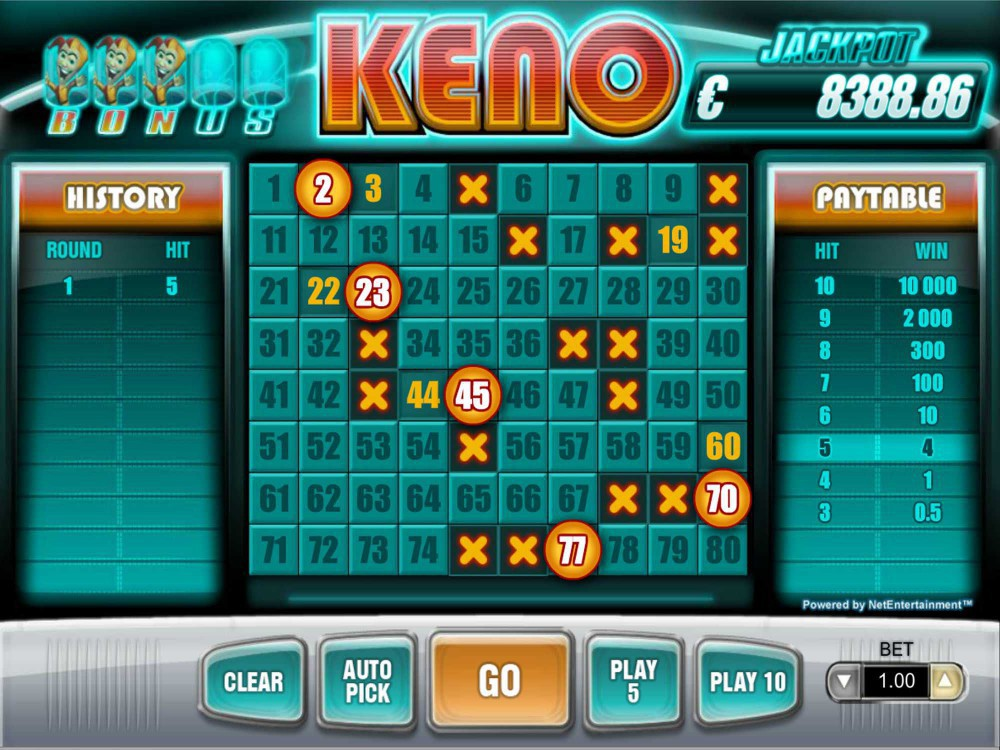 Bonus Keno Review screenshot