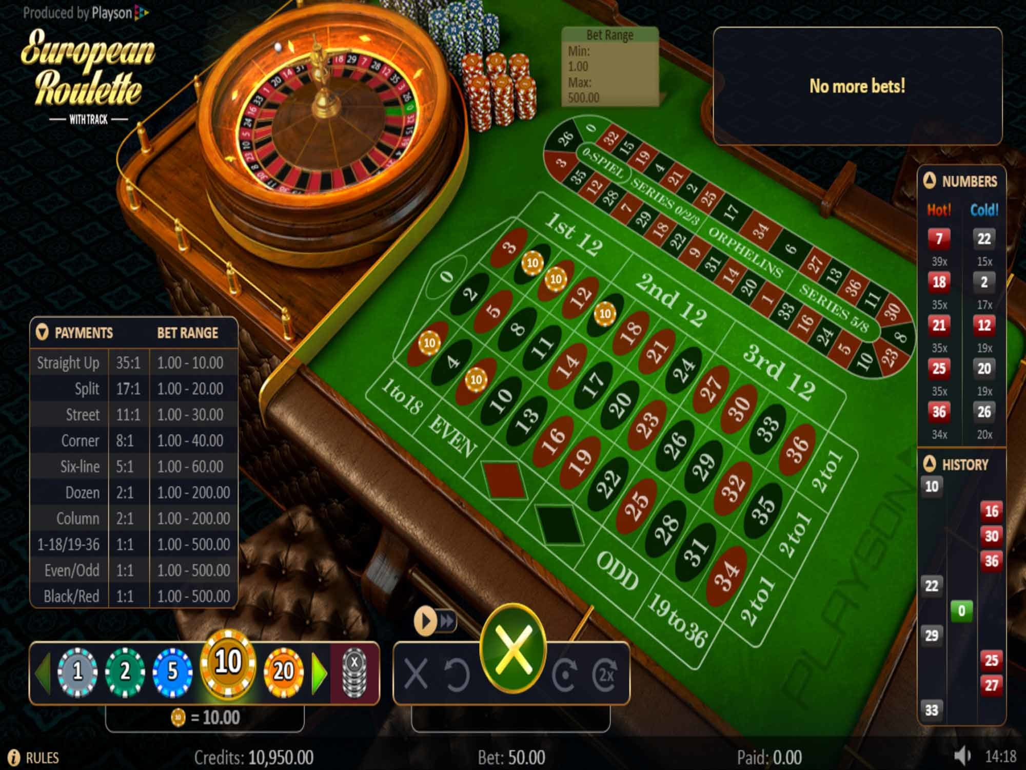 Roulette with Track by Playson screenshot