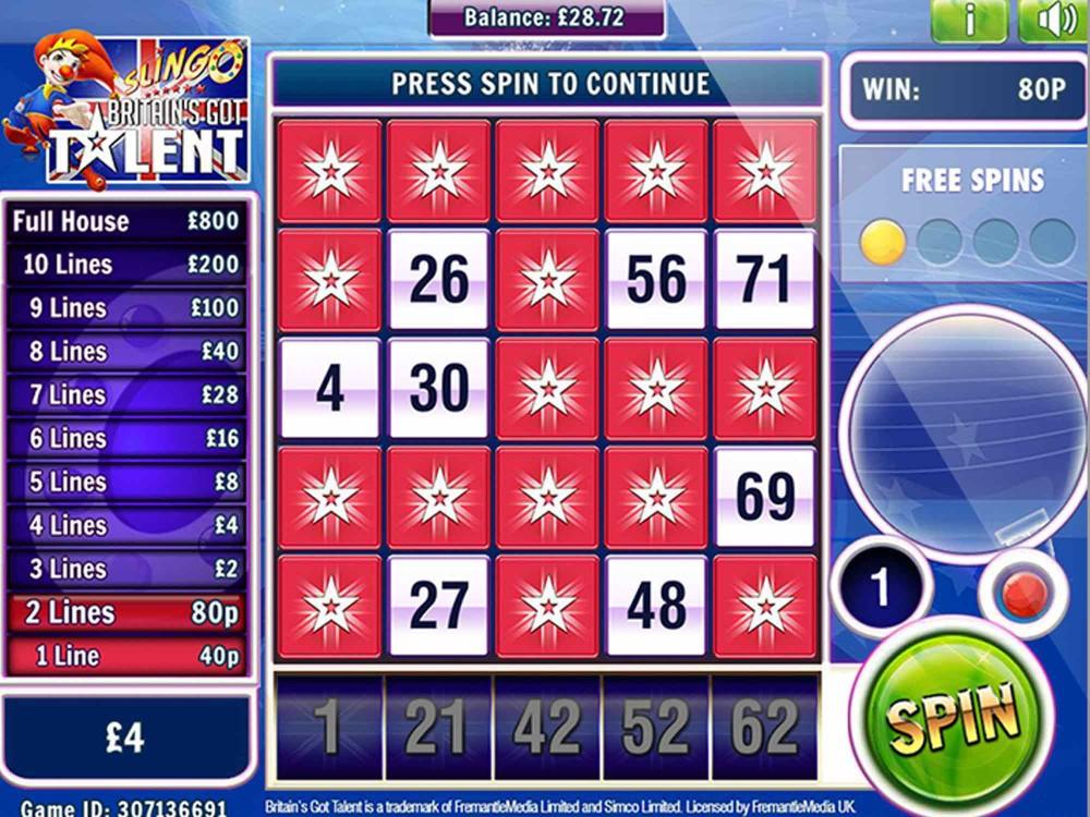Britains Got Talent Slingo Slot - Slots - GamblersPick