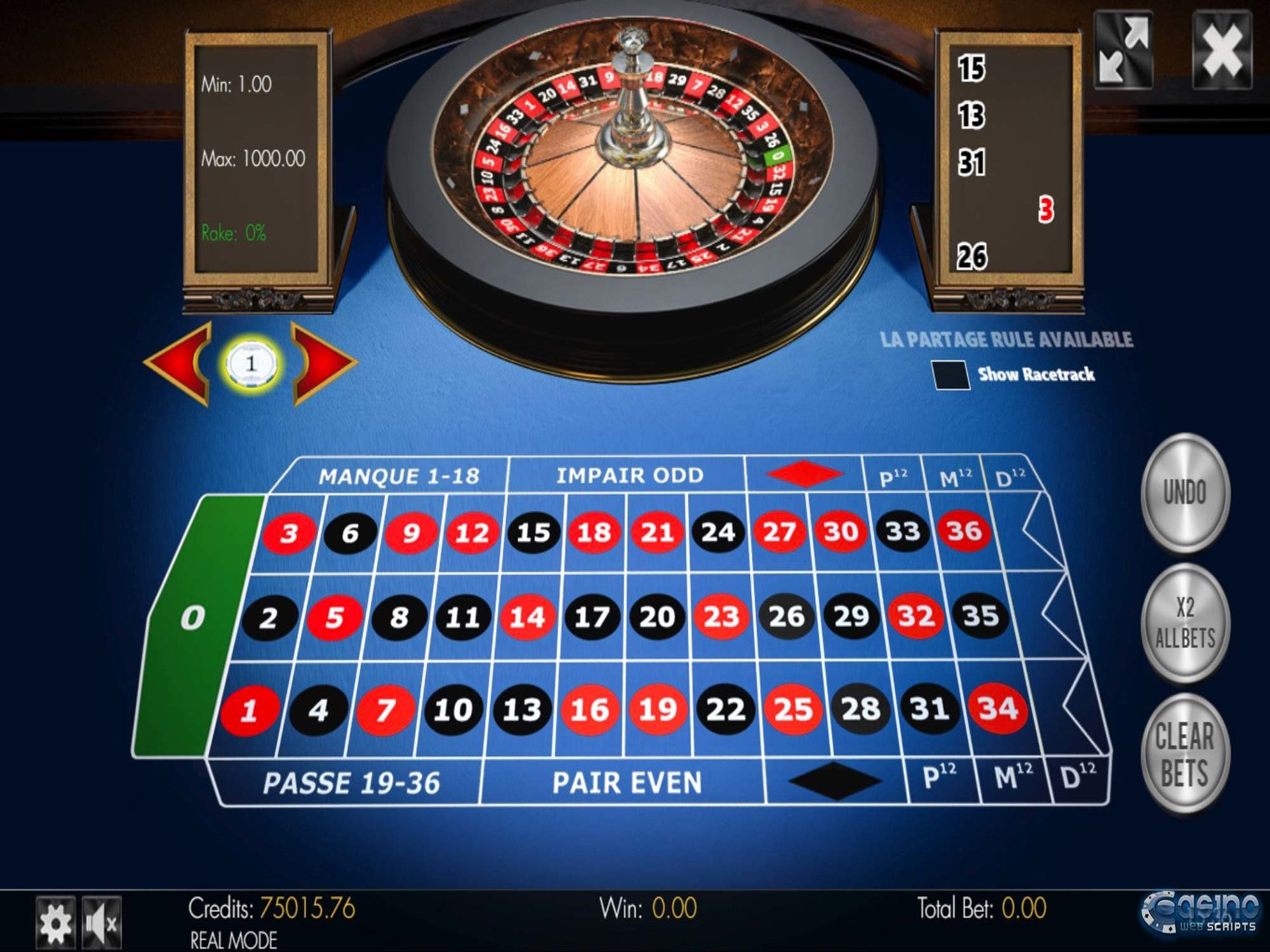 French Roulette 3D Advanced Game by CasinoWebScripts screenshot