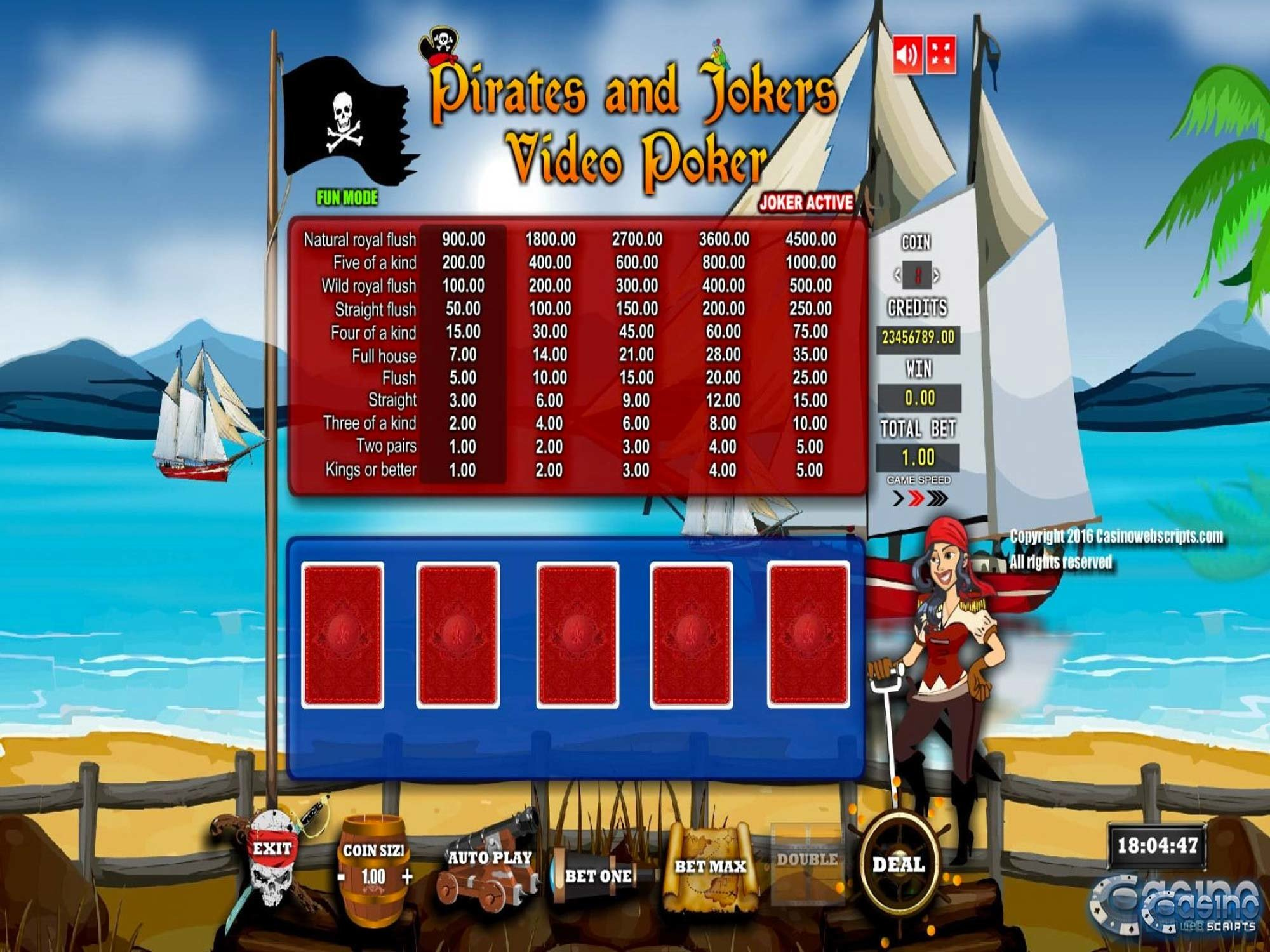 Pirates And Jokers Game by CasinoWebScripts screenshot