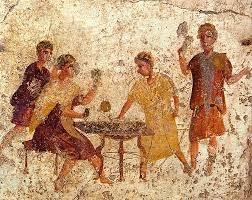 ancient gambling scene