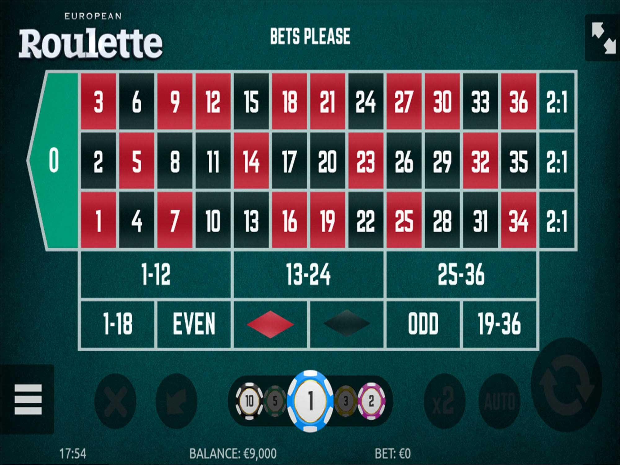 European Roulette screenshot