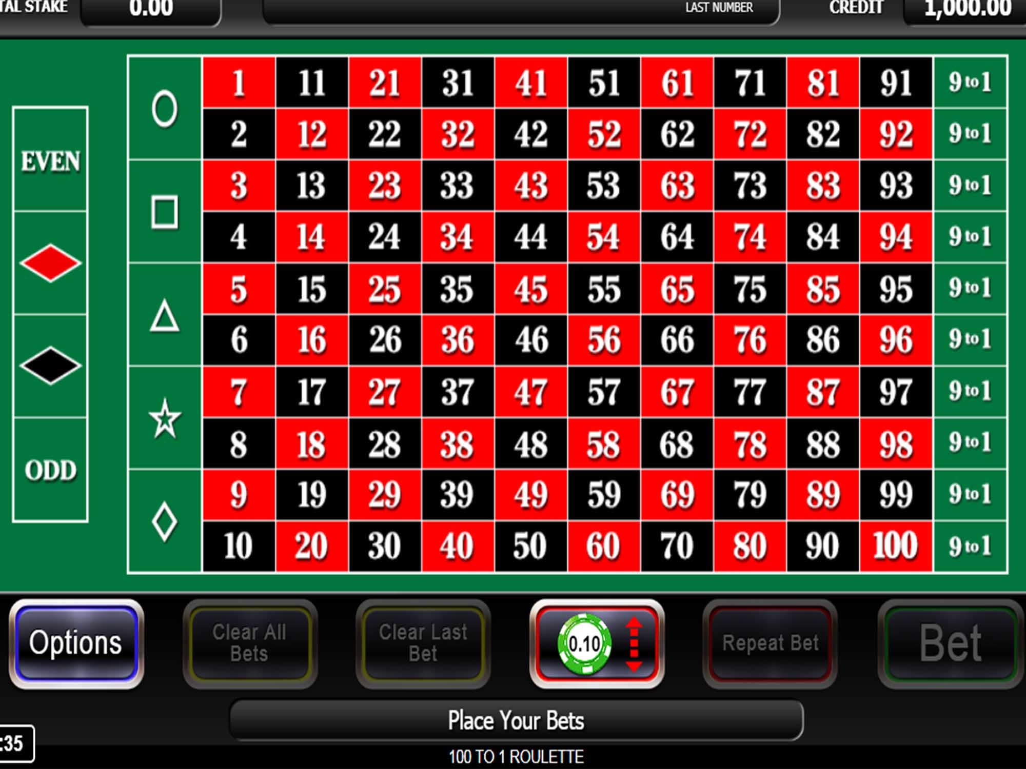 100/1 Roulette screenshot